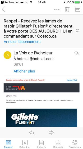 Ouvrez le courriel de La Voix de l'Acheteur